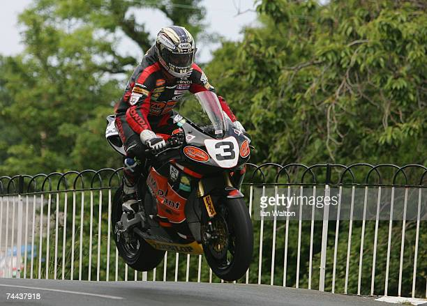 John McGuinness in action during the senior race in the Isle of Man TT Races on June 8 2007 in Ramsey Isle of Man