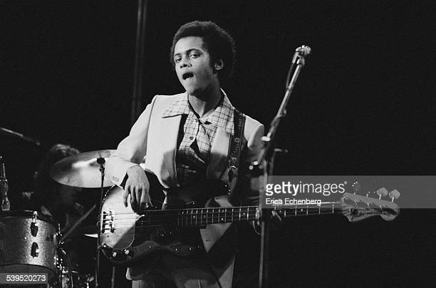 John McKenzie of Man performing on stage at Hammersmith Odeon London May 1976