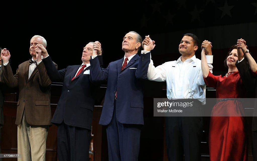 John McMartin, Michael McKean, Bryan Cranston, Brandon J. Dirden and Betsy Aidem during the Broadway opening night performance curtain call for 'All The Way' at The Neil Simon Theatre on March 6, 2014 in New York City.