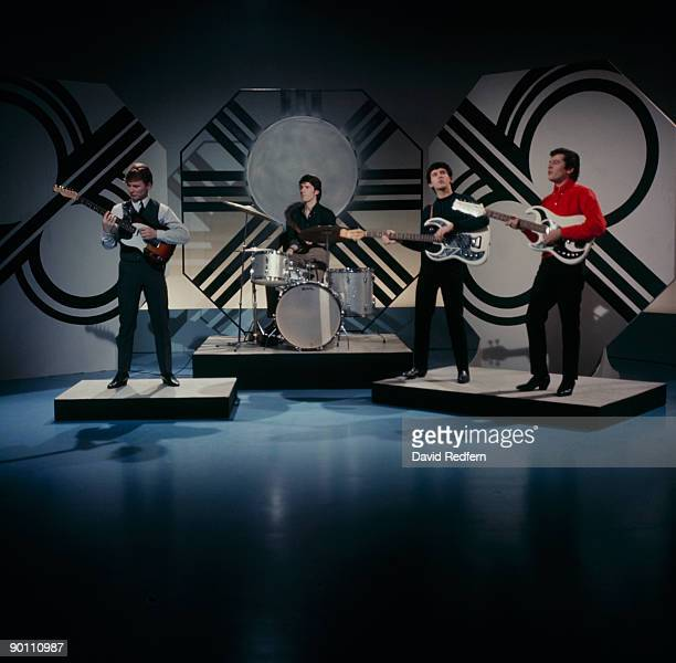 John McNally Chris Curtis Frank Allen and Mike Pender of The Searchers perform on Thank Your Lucky Stars tv show in February 1965