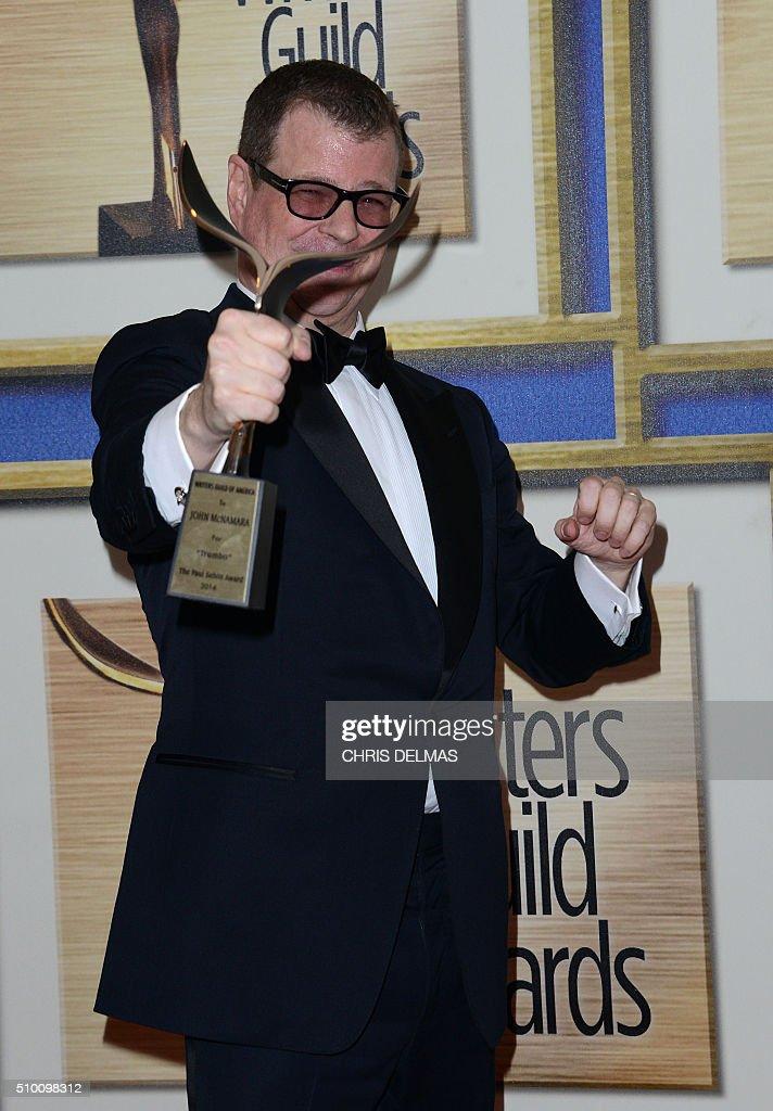 John McNamara poses in the press room at the Writers Guild Awards, in Century City, California, February 13, 2016 / AFP / CHRIS DELMAS