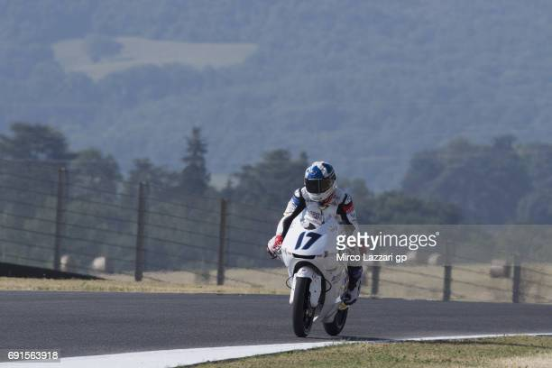 John McPhee of Great Britain and British Talent Team heads down a straight during the MotoGp of Italy Free Practice at Mugello Circuit on June 2 2017...