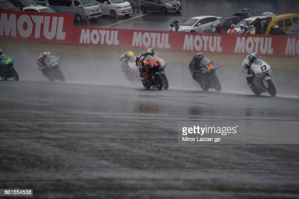 John McPhee of Great Britain and British Talent Team leads the field during the Moto3 race during the MotoGP of Japan Race at Twin Ring Motegi on...