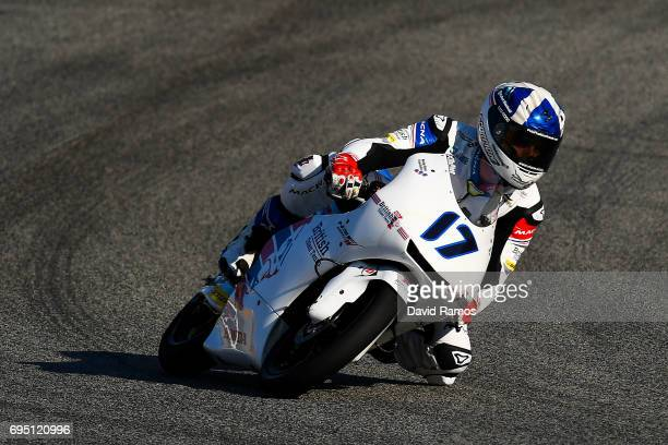 John Mcphee of Great Britain and British Talent Team rides during the Moto3 warmup ahead of the Moto3 race at Circuit de Catalunya on June 11 2017 in...
