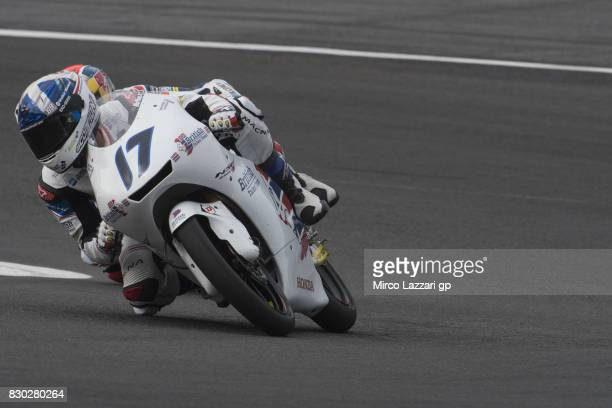 John McPhee of Great Britain and British Talent Team rounds the bend during the MotoGp of Austria Free Practice at Red Bull Ring on August 11 2017 in...