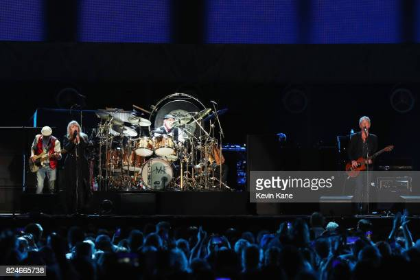 John McVie Stevie Nicks Mick Fleetwood and Lindsey Buckingham of Fleetwood Mac perform onstage during The Classic East Day 2 at Citi Field on July 30...