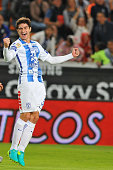 John Medina of Pachuca celebrates his goal against Leon during their Mexican Apertura 2016 Tournament football match at the Hidalgo stadium on July...
