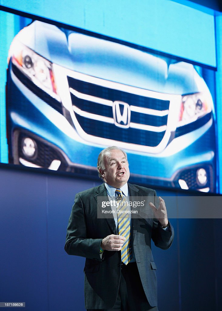 John Mendel, executive vice president of American Honda Motor Co., Inc., speaks before the introduction of new 2013 Honda Civic cars during the Los Angeles Auto show on November 29, 2012 in Los Angeles, California. The LA Auto Show opens to the public on November 30 and runs through December 9.