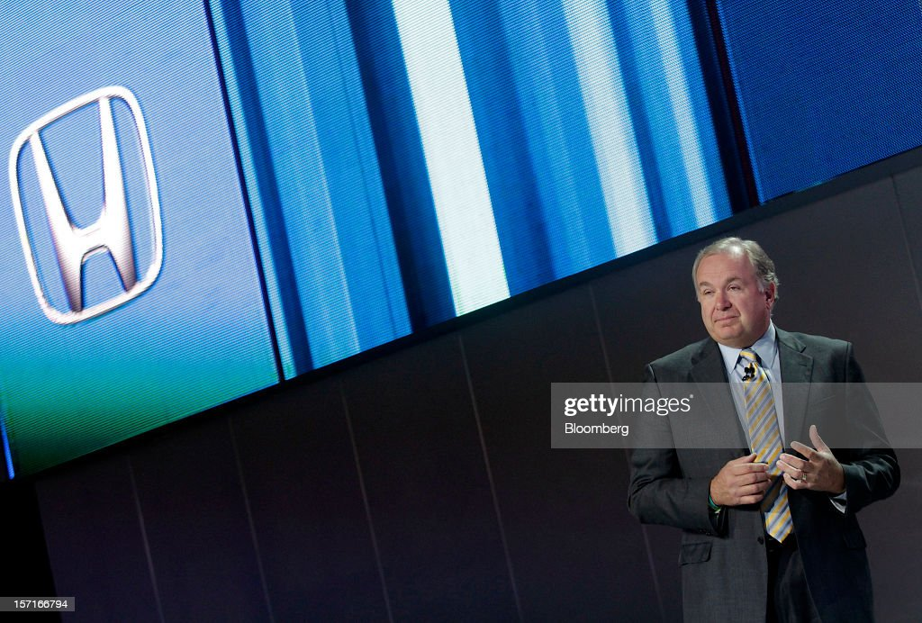 John Mendel, executive vice president of Honda Motor Co.'s American unit, speaks during the LA Auto Show in Los Angeles, California, U.S., on Thursday, November 29, 2012. In the quickest turnaround in the 39-year history of the Civic, Honda Motor Co. introduced a modified U.S. model, just 19 months after the current car appeared. Photographer: Jonathan Alcorn/Bloomberg via Getty Images