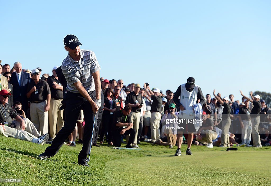 John Merrick chips out of the rough on the first playoff hole during the final round of the Northern Trust Open at the Riviera Country Club on February 17, 2013 in Pacific Palisades, California. Merrick would beat Charlie Beljan on the second playoff hole to win the tournament.
