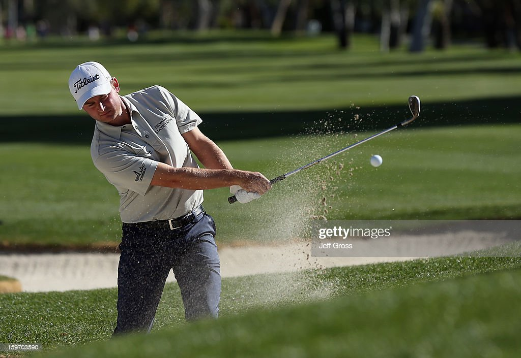 John Merrick hits a bunker shot to the 13th green during the second round of the Humana Challenge In Partnership With The Clinton Foundation at La Quinta Country Club on January 18, 2013 in La Quinta, California.