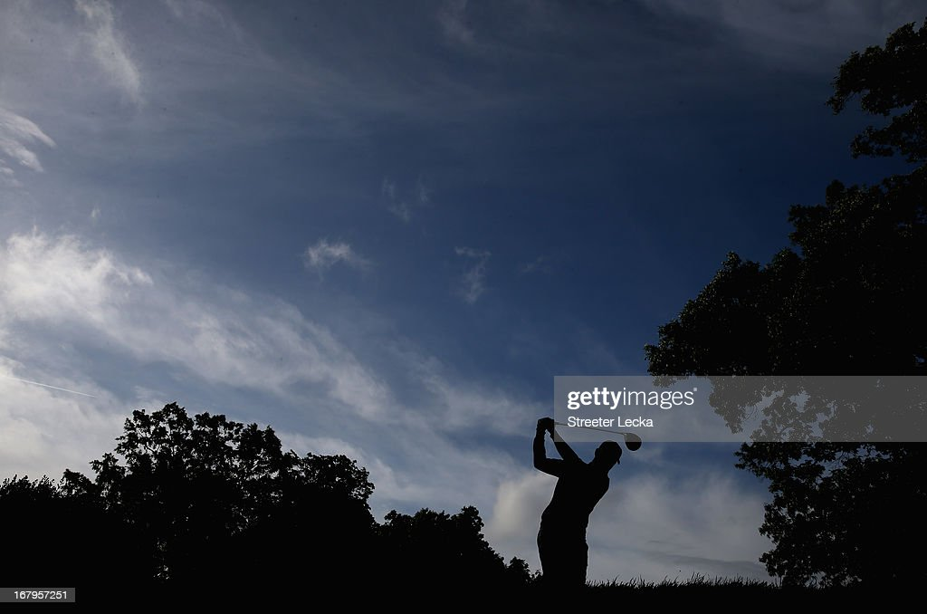 John Merrick hits a tee shot on the 5th hole during the second round of the Wells Fargo Championship at Quail Hollow Club on May 3, 2013 in Charlotte, North Carolina.