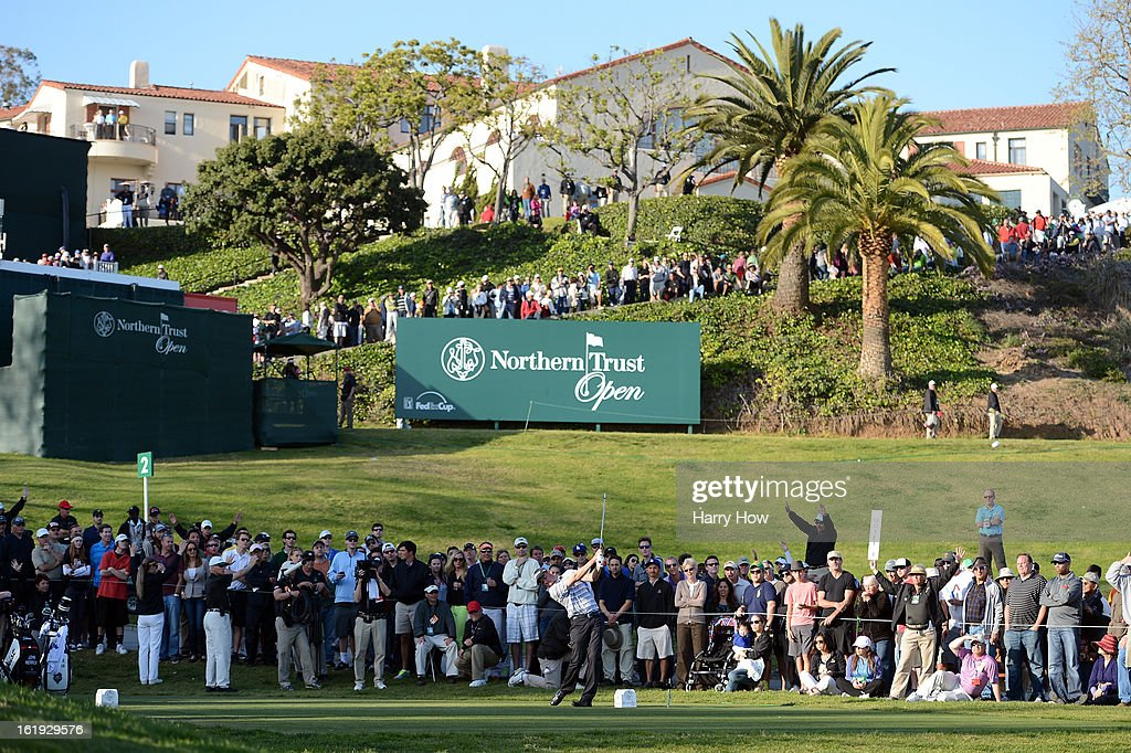 John Merrick hits a tee shot on the second playoff hole during the final round of the Northern Trust Open at the Riviera Country Club on February 17, 2013 in Pacific Palisades, California. Merrick would beat Charlie Beljan on the second playoff hole to win the tournament.