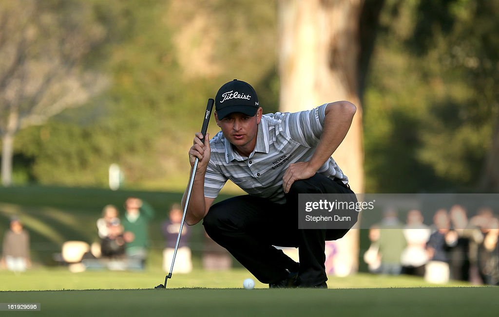 John Merrick lines up his putt on the second playoff hole during the final round of the Northern Trust Open at Riviera Country Club on February 17, 2013 in Pacific Palisades, California.