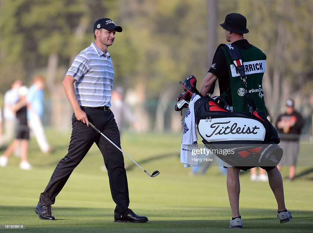 John Merrick reacts to his second shot on the second playoff hole during the final round of the Northern Trust Open at the Riviera Country Club on February 17, 2013 in Pacific Palisades, California. Merrick would beat Charlie Beljan on the second playoff hole to win the tournament.