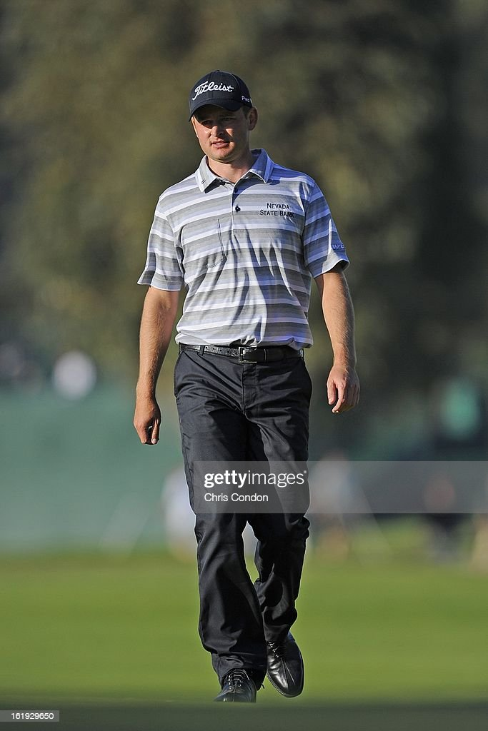 John Merrick walks to the 10th green during a playoff at the final round of the Northern Trust Open at Riviera Country Club on February 17, 2013 in Pacific Palisades, California.