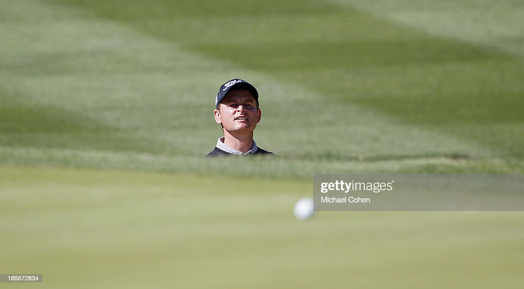 John Merrick watches his ball on the green during the first round of the Valero Texas Open held at the AT&T Oaks Course at TPC San Antonio on April 4, 2013 in San Antonio, Texas.