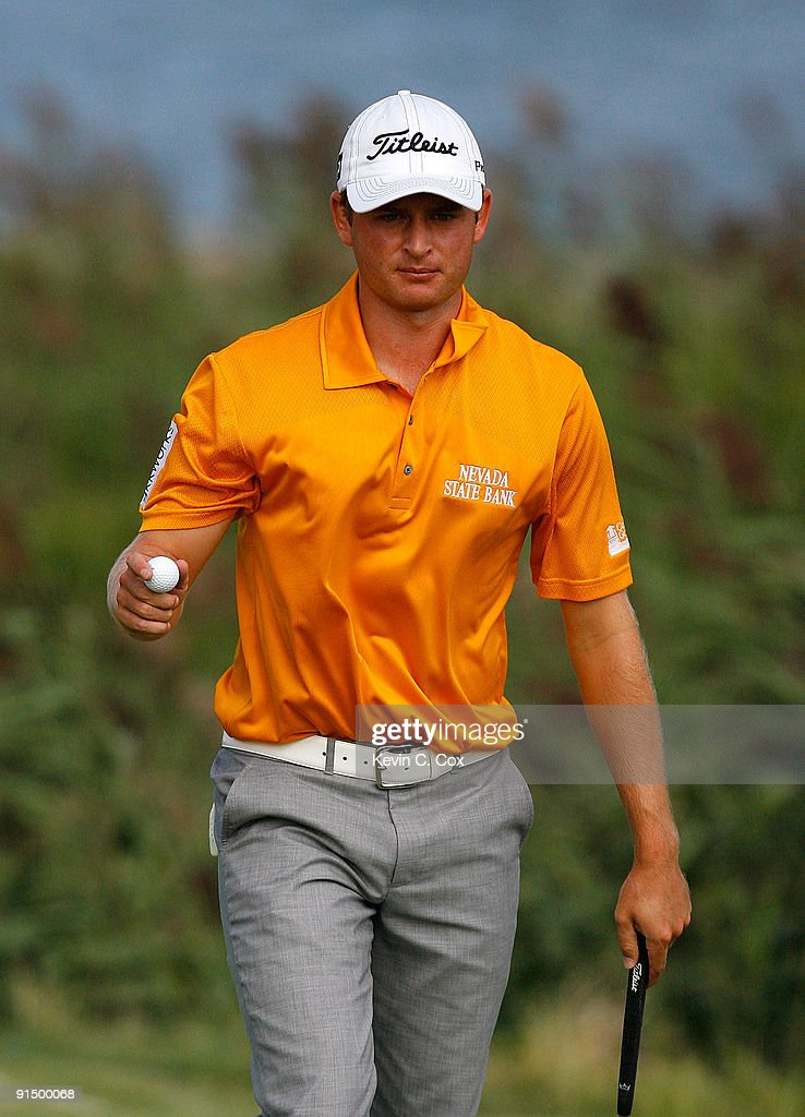 John Merrick waves his ball during round one at The Barclays on August 27 2009 at Liberty National in Jersey City New Jersey