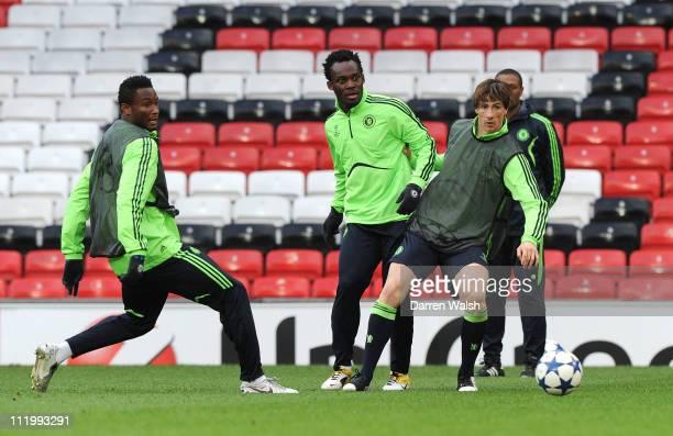 John Mikel Obi Michael Essien Fernando Torres of Chelsea during a training session ahead of their UEFA Champions League Quarterfinal second leg match...