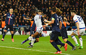 John Mikel Obi of Chelsea scores their first and equalising goal during the UEFA Champions League round of 16 first leg match between Paris...