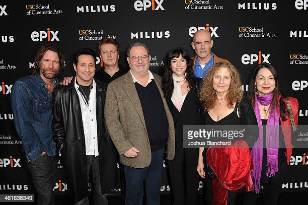 John Milius and Elan Oberon and guests arrive at EPIX USC Host An Evening With John Milius at USC Norris Theatre on January 9 2014 in Los Angeles...