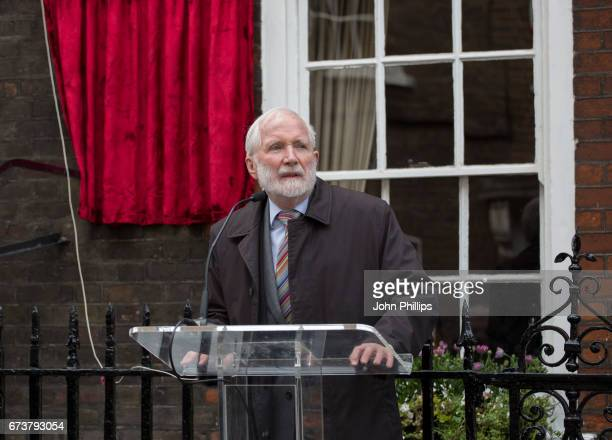 John Miller during the unveiling of a new plaque commemorating her friend and fellow actor Sir John Gielgud on Cowley Street in Westminster on April...