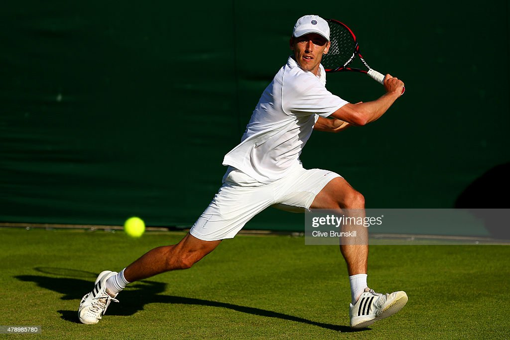 <a gi-track='captionPersonalityLinkClicked' href=/galleries/search?phrase=John+Millman&family=editorial&specificpeople=2082551 ng-click='$event.stopPropagation()'>John Millman</a> of Australia in action in his Gentlemens Singles first round match against Tommy Robredo of Spain during day one of the Wimbledon Lawn Tennis Championships at the All England Lawn Tennis and Croquet Club on June 29, 2015 in London, England.