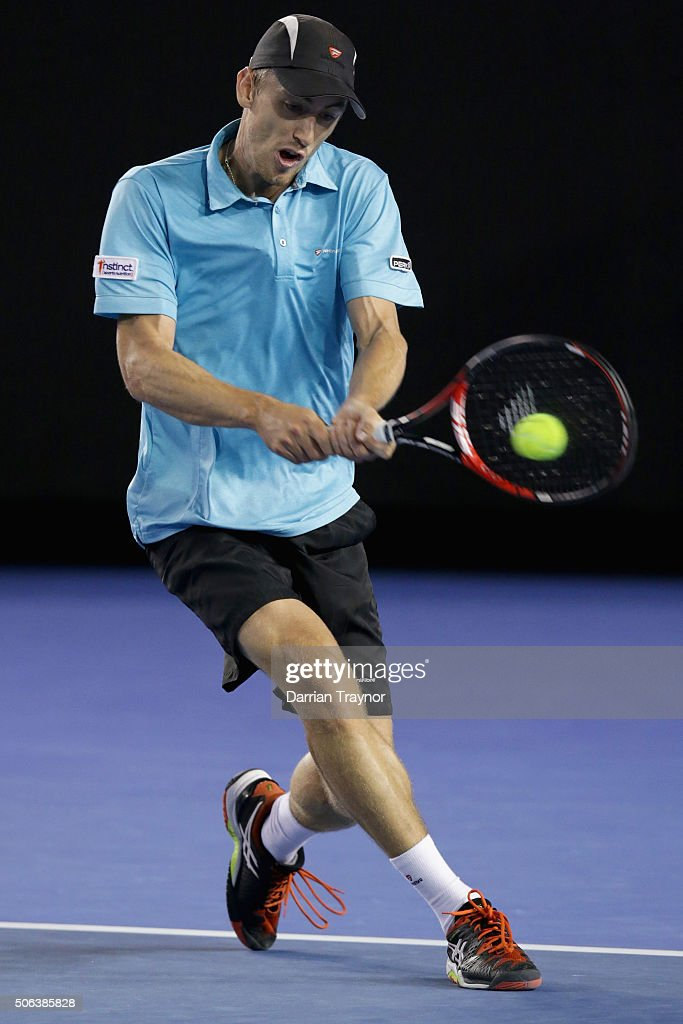 <a gi-track='captionPersonalityLinkClicked' href=/galleries/search?phrase=John+Millman&family=editorial&specificpeople=2082551 ng-click='$event.stopPropagation()'>John Millman</a> of Australia plays a backhand in his third round match against Bernard Tomic of Australia during day six of the 2016 Australian Open at Melbourne Park on January 23, 2016 in Melbourne, Australia.