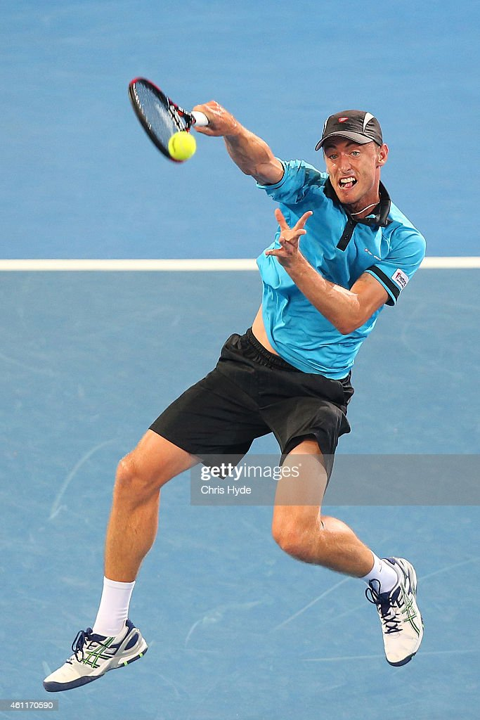 <a gi-track='captionPersonalityLinkClicked' href=/galleries/search?phrase=John+Millman&family=editorial&specificpeople=2082551 ng-click='$event.stopPropagation()'>John Millman</a> of Australia plays a forehand in his match against Roger Federer of Switzerland during day five of the 2015 Brisbane International at Pat Rafter Arena on January 8, 2015 in Brisbane, Australia.