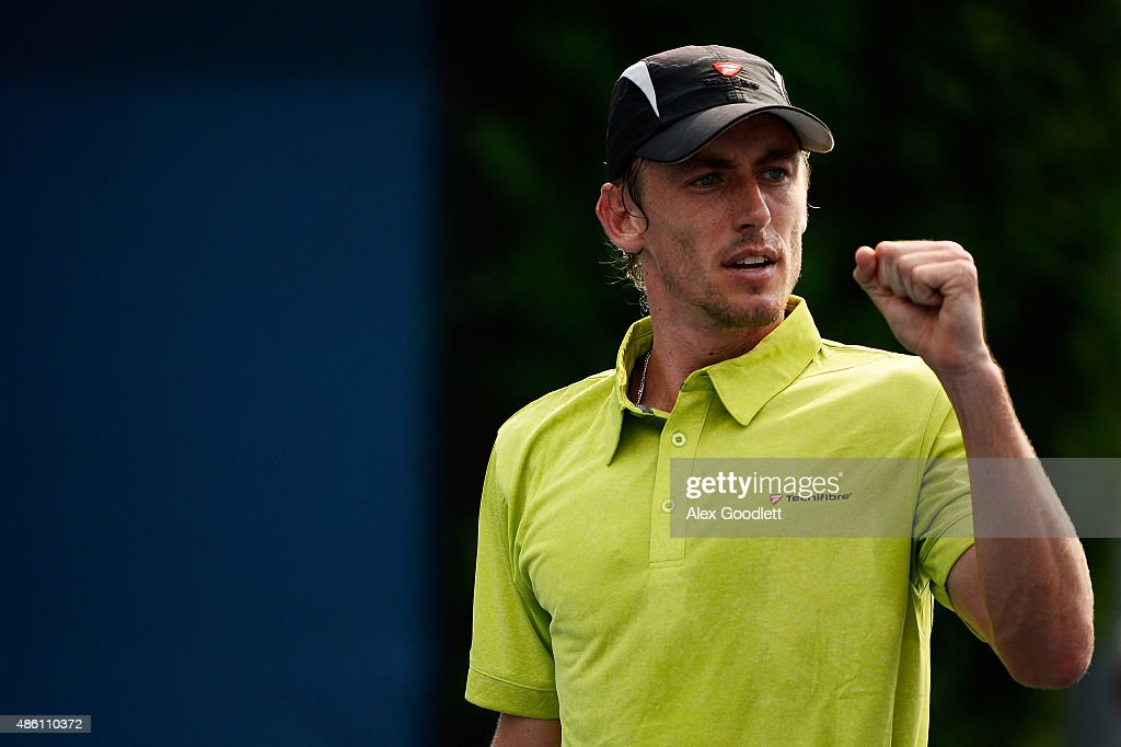 <a gi-track='captionPersonalityLinkClicked' href=/galleries/search?phrase=John+Millman&family=editorial&specificpeople=2082551 ng-click='$event.stopPropagation()'>John Millman</a> of Australia reacts against Sergiy Stakhovsky of Ukraine during their Men's Singles First Round match on Day One of the 2015 US Open at the USTA Billie Jean King National Tennis Center on August 31, 2015 in the Flushing neighborhood of the Queens borough of New York City.