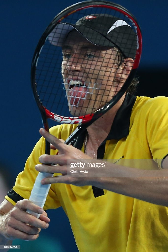 John Millman of Australia reacts during his match against Andy Murray of Great Britain on during day five of the Brisbane International at Pat Rafter Arena on January 3, 2013 in Brisbane, Australia.
