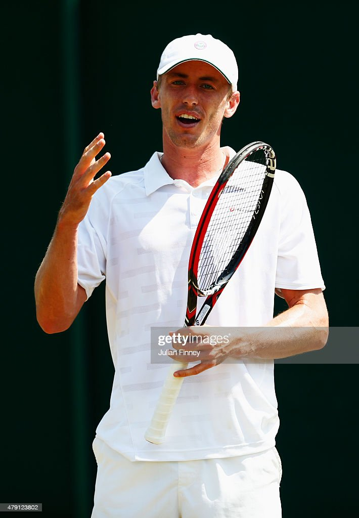 <a gi-track='captionPersonalityLinkClicked' href=/galleries/search?phrase=John+Millman&family=editorial&specificpeople=2082551 ng-click='$event.stopPropagation()'>John Millman</a> of Australia reacts in his Gentlemens Singles Second Round match against Marcos Baghdatis of Cyprus during day three of the Wimbledon Lawn Tennis Championships at the All England Lawn Tennis and Croquet Club on July 1, 2015 in London, England.