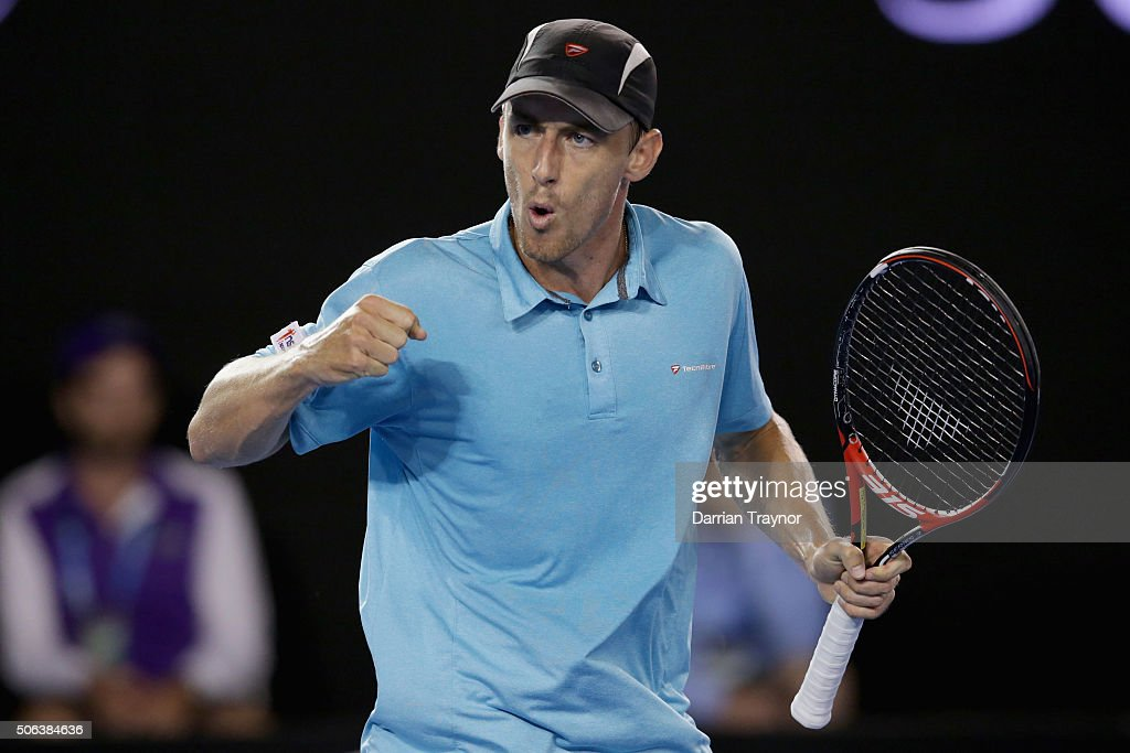 <a gi-track='captionPersonalityLinkClicked' href=/galleries/search?phrase=John+Millman&family=editorial&specificpeople=2082551 ng-click='$event.stopPropagation()'>John Millman</a> of Australia reacts in his third round match against Bernard Tomic of Australia during day six of the 2016 Australian Open at Melbourne Park on January 23, 2016 in Melbourne, Australia.