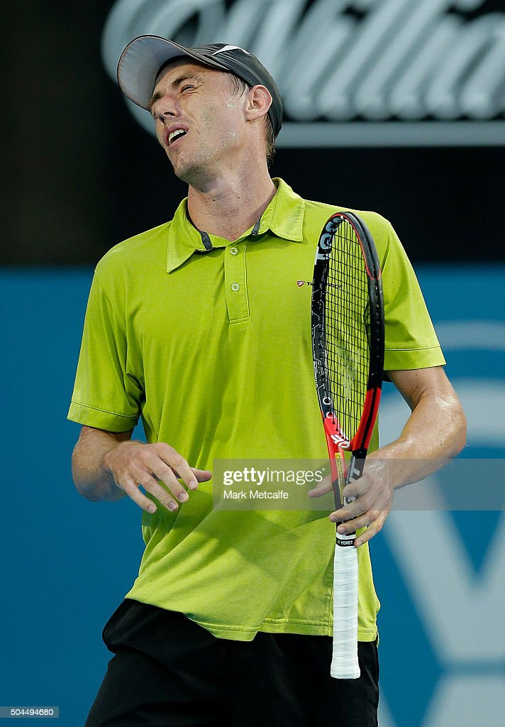 <a gi-track='captionPersonalityLinkClicked' href=/galleries/search?phrase=John+Millman&family=editorial&specificpeople=2082551 ng-click='$event.stopPropagation()'>John Millman</a> of Australia reacts to losing a point in his match against Tommy Robredo of Spain during day two of the 2016 Sydney International at Sydney Olympic Park Tennis Centre on January 11, 2016 in Sydney, Australia.