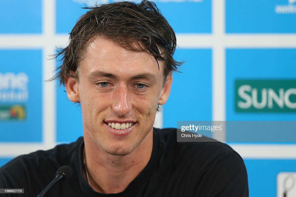 John Millman of Australia talks during a media conference after losing his match against Andy Murray of Great Britain on day five of the Brisbane International at Pat Rafter Arena on January 3, 2013 in Brisbane, Australia.