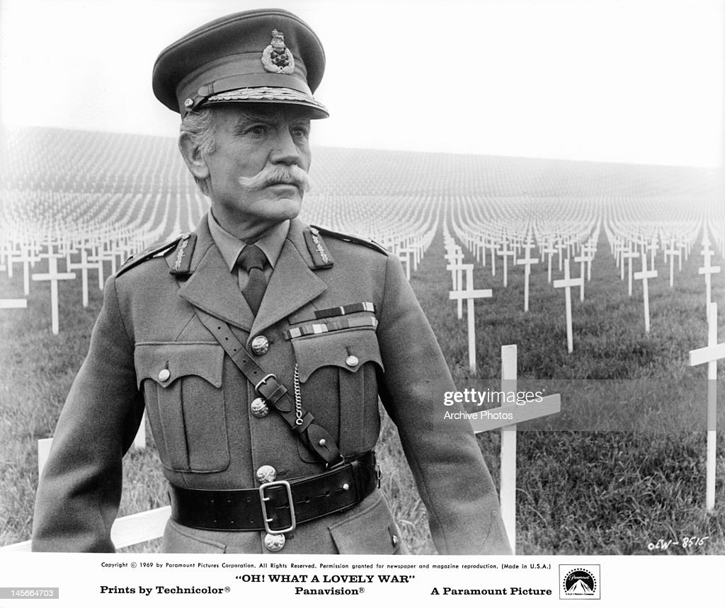 John Mills in cemetery in a scene from the film 'Oh! What A Lovely War', 1969.