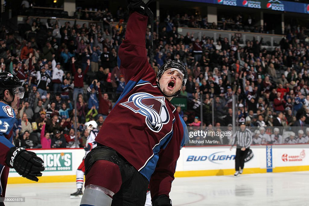 John Mitchell #7 of the Colorado Avalanche celebrates a goal against the Columbus Blue Jackets at the Pepsi Center on January 24, 2013 in Denver, Colorado. Colorado beat Columbus 4-0.