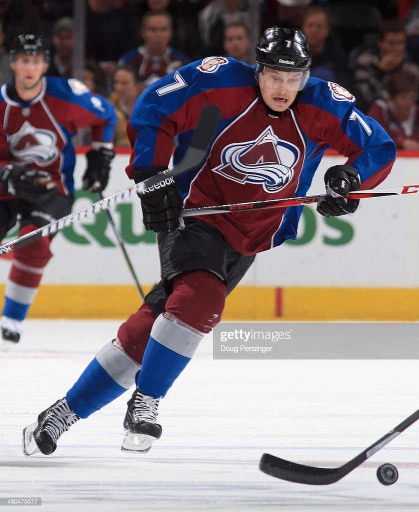 John Mitchell #7 of the Colorado Avalanche skates against the Florida Panthers at Pepsi Center on November 16, 2013 in Denver, Colorado. The Panthers defeated the Avalanche 4-1.