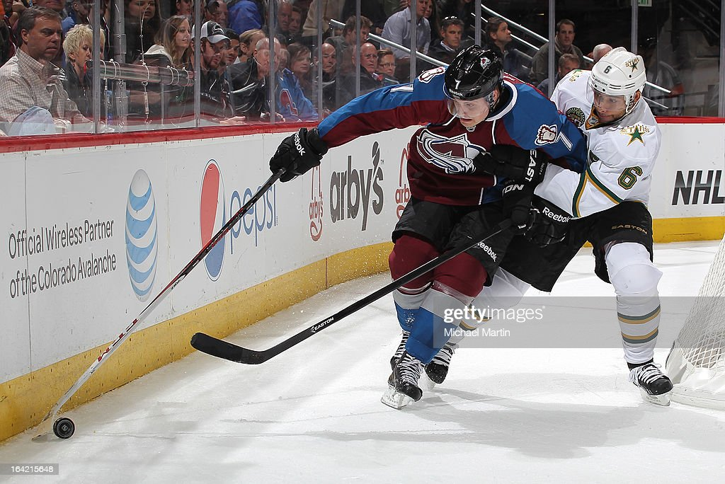 John Mitchell #7 of the Colorado Avalanche skates against <a gi-track='captionPersonalityLinkClicked' href=/galleries/search?phrase=Trevor+Daley&family=editorial&specificpeople=213975 ng-click='$event.stopPropagation()'>Trevor Daley</a> #6 of the Dallas Stars at the Pepsi Center on March 20, 2013 in Denver, Colorado. The Avalanche defeated the Stars 4-3.