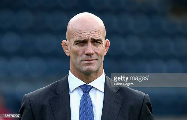 John Mitchell the Sale Sharks head coach looks on during the Aviva Premiership match between London Wasps and Sale Sharks at Adams Park on December...