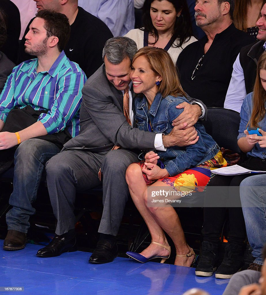 John Molner and Katie Couric attend the Boston Celtics vs New York Knicks Playoff Game at Madison Square Garden on May 1 2013 in New York City