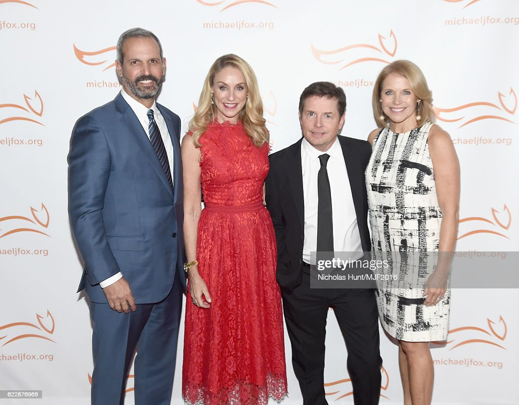 John Molner, Tracy Pollan, Michael J. Fox, and Katie Couric attend Michael J. Fox Foundation's 'A Funny Thing Happened On The Way To Cure Parkinson's' gala at The Waldorf=Astoria on November 12, 2016 in New York City.