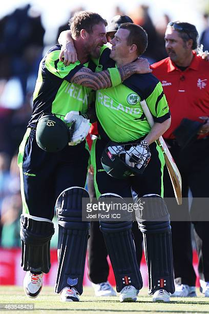 John Mooney of Ireland and Niall O'Brien celebrate after defeating the West Indies during the 2015 ICC Cricket World Cup match between the West...