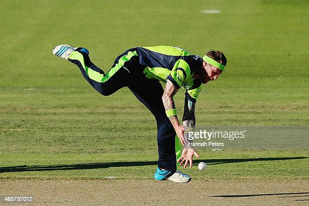 John Mooney of Ireland drops a catch during the 2015 ICC Cricket World Cup match between Ireland and India at Seddon Park on March 10 2015 in...