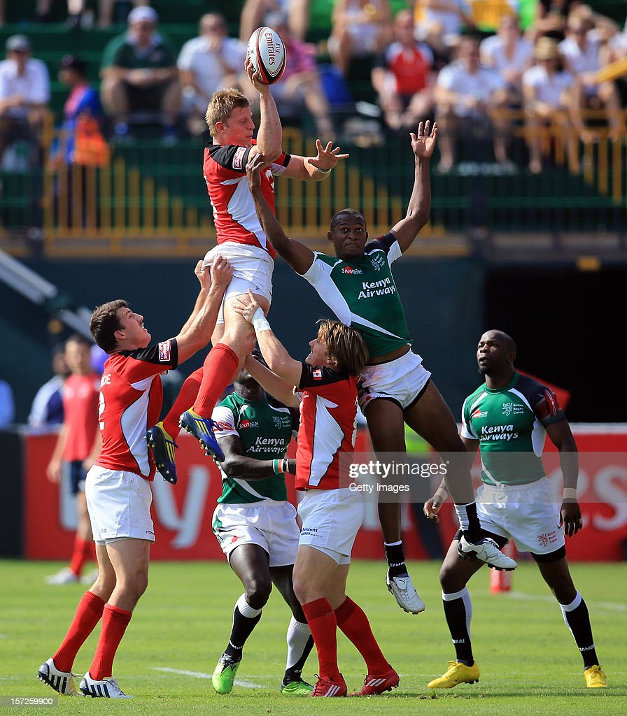 John Moonlight of Canada wins line out ball in the Dubai Cup Quarter Final Match against Kenya during the Emirates IRB Dubai Sevens, Round 2 of the HSBC Sevens World Series on December 1, 2012 in Dubai, United Arab Emirates.