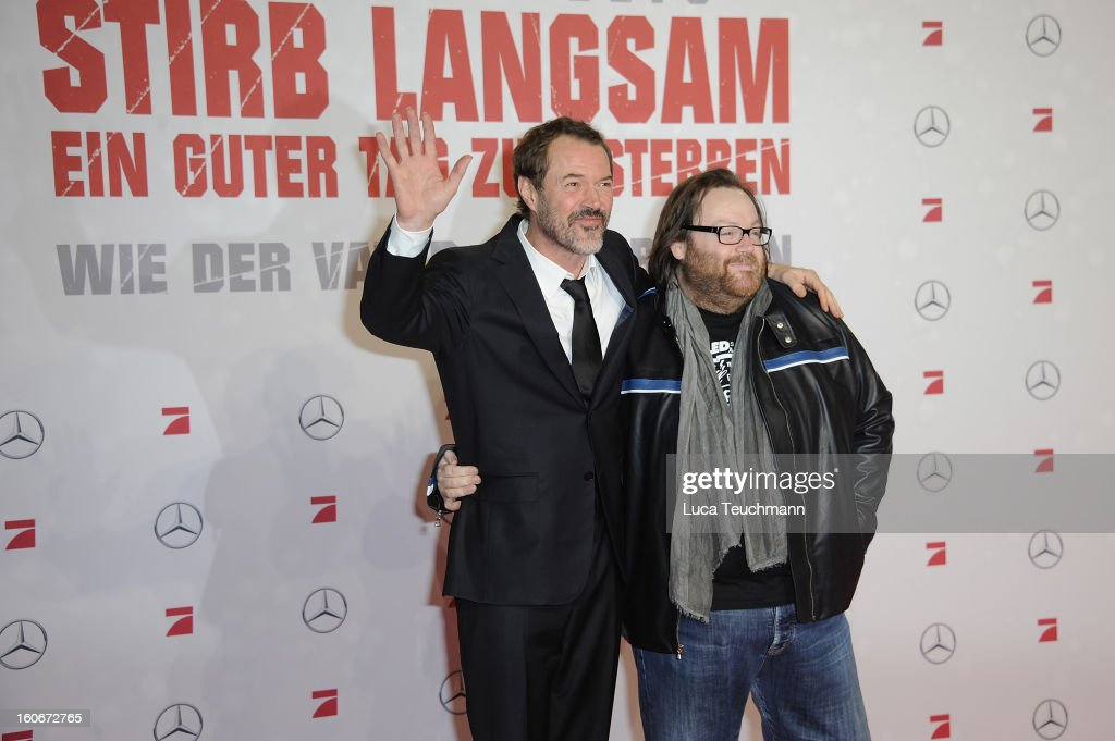 John Moore and Sebastian Koch attend the premiere of 'Die Hard - Ein Guter Tag Zum Sterben' at Sony Center on February 4, 2013 in Berlin, Germany.