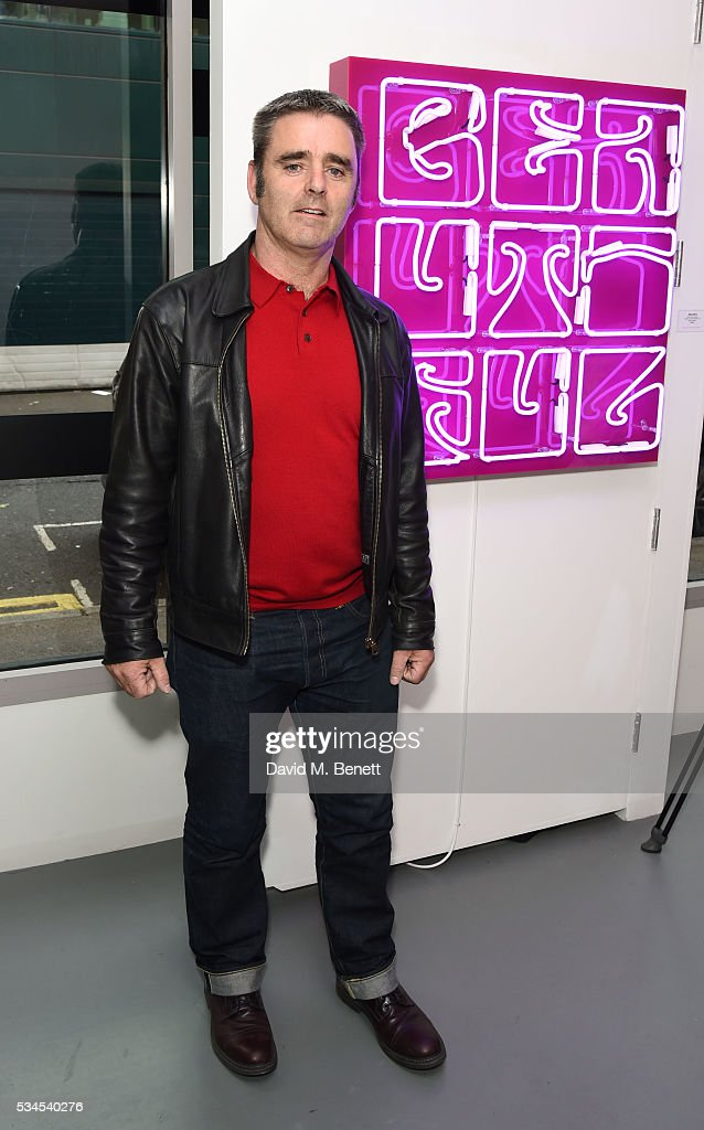 John Morrissey attends a private view of 'Art Electric', a collaboration between artists Zoe Grace and John Morrissey, at Lawrence Alkin Gallery on May 26, 2016 in London, England.