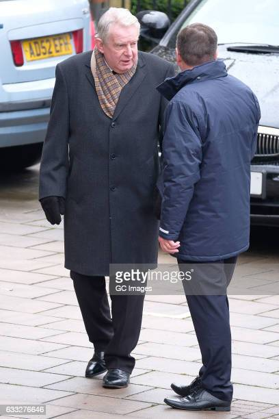 John Motson attends the funeral of former England football manager Graham Taylor at St Mary's Church on February 1 2017 in Watford England Graham...