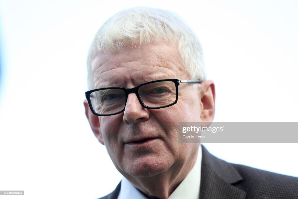 John Motson looks on prior to the Premier League match between Brighton and Hove Albion and West Bromwich Albion at Amex Stadium on September 9, 2017 in Brighton, England.
