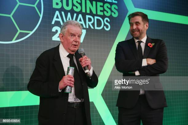 John Motson receives the Global Football Ambassador award during the Football Business Awards evening at Tobacco Dock on November 2 2017 in London...